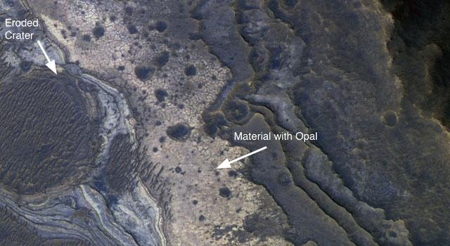 Месторождение опала на Марсе NASA