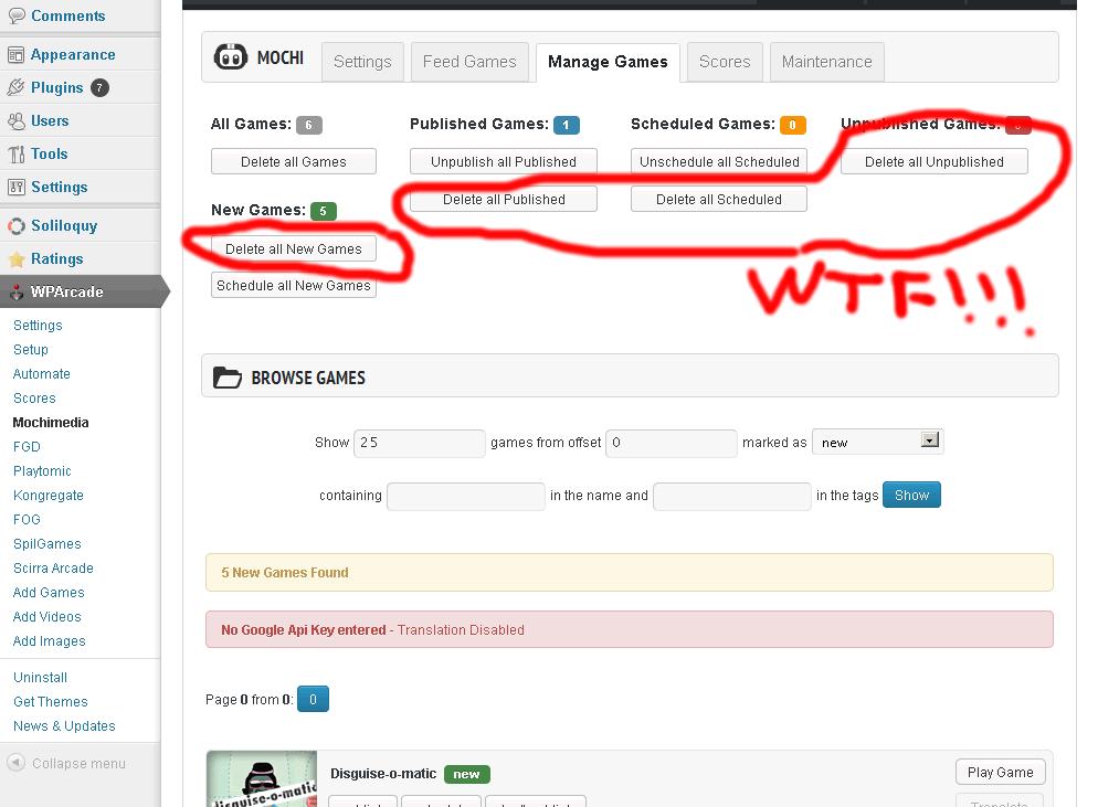 тонна клавиш Delete прямо в окне управления контентом